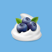 Blueberry and whipped cream or yogurt Realistic forest berry illustration. Vector icon