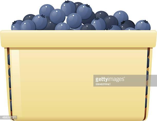 blueberry basket - blueberry stock illustrations, clip art, cartoons, & icons