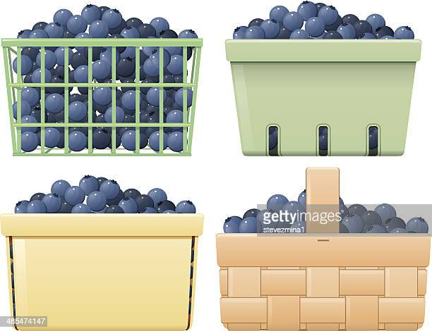 blueberry baskets - blueberry stock illustrations, clip art, cartoons, & icons