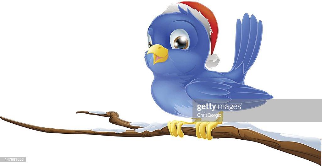 Bluebird in Christmas hat