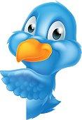 Bluebird Peeking Around Sign