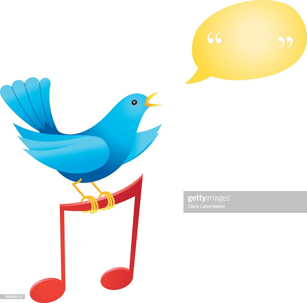 bluebird perched on a music note vector art getty images rh gettyimages com Single Music Notes Music Note Clip Art