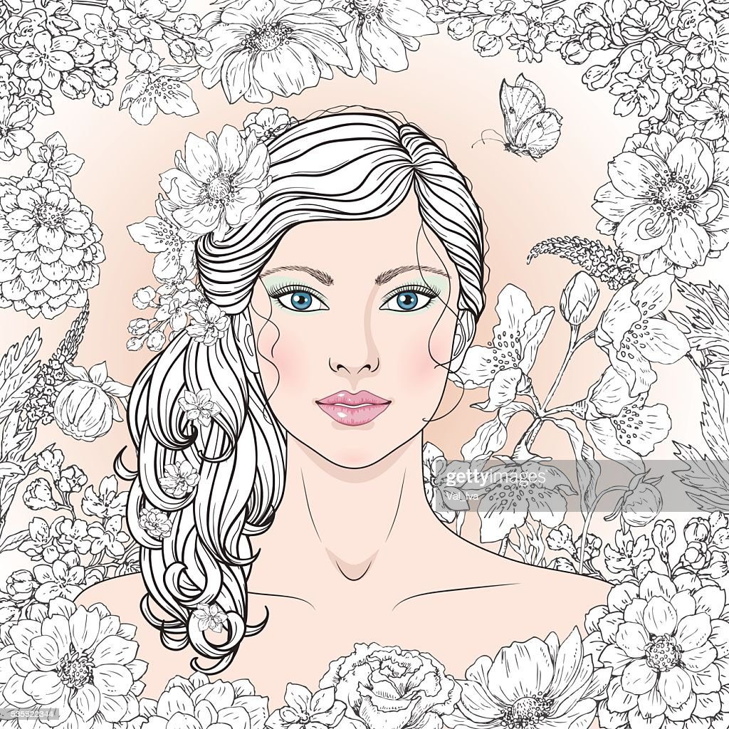Blue-eyed girl with flowers and butterfly