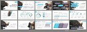 Blue-gray infographics elements for presentation templates.