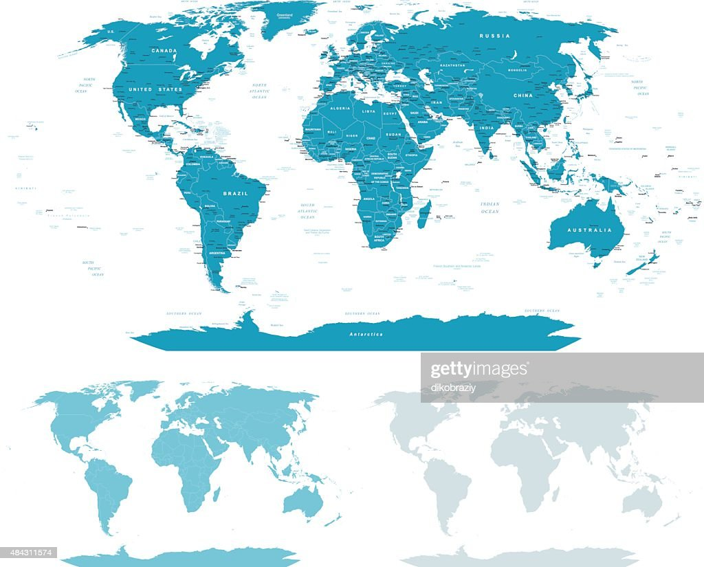 Bluegreen world map borders countries and cities illustration vector blue green world map borders countries and cities illustration vector art gumiabroncs Image collections