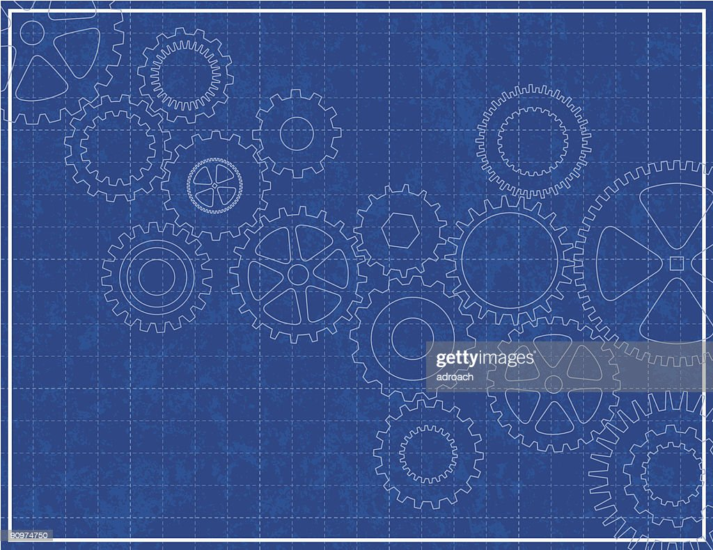 Blueprint background with white cogs and grid vector art getty images blueprint background with white cogs and grid vector art malvernweather Image collections
