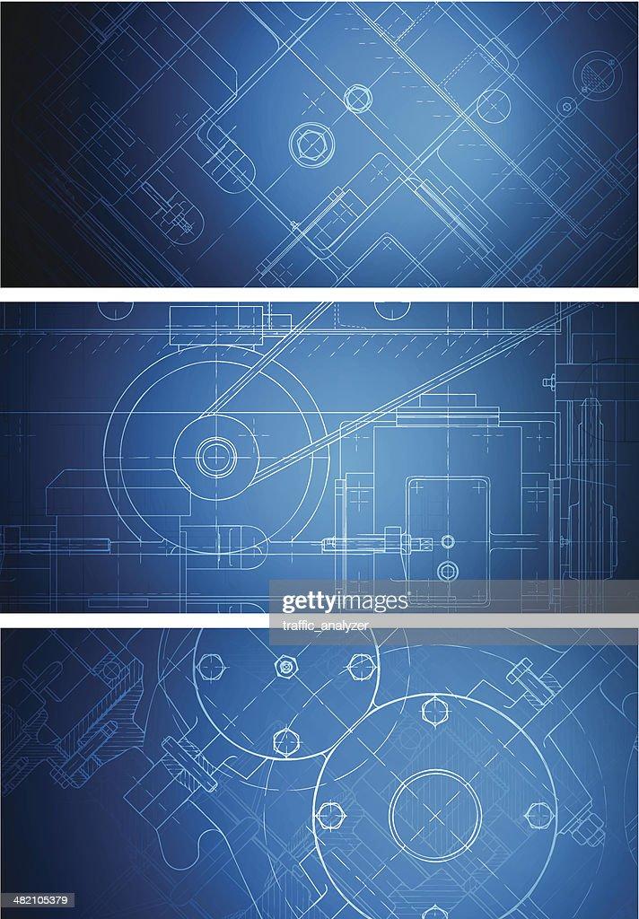 Blueprint banners : stock illustration