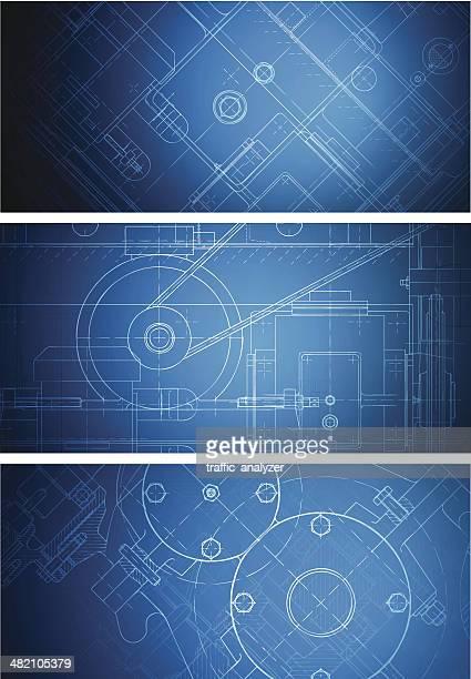 blueprint banners - machine part stock illustrations