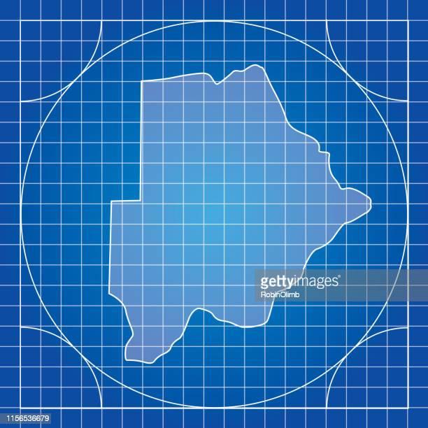 ilustrações, clipart, desenhos animados e ícones de mapa-blueprint botswana - botsuana