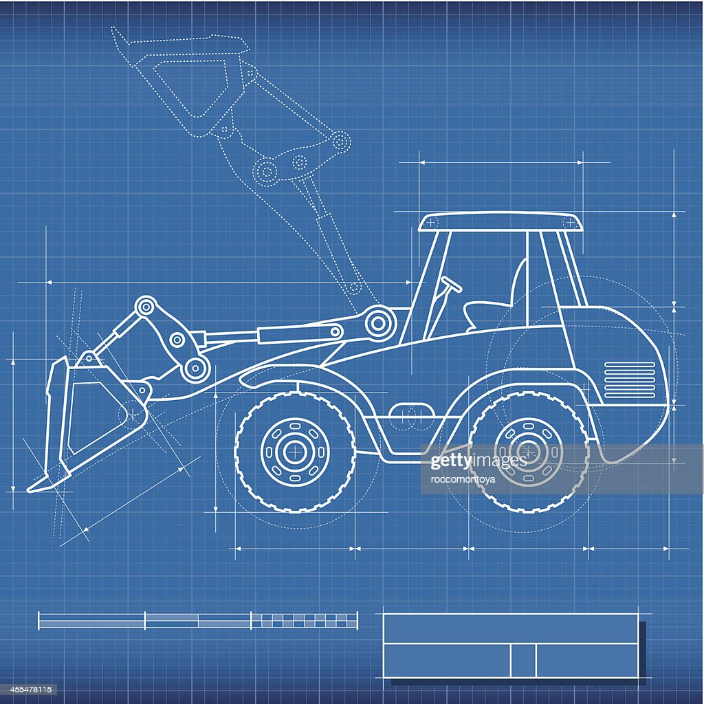 Blueprint bulldozer vector art getty images blueprint bulldozer vector art malvernweather Images