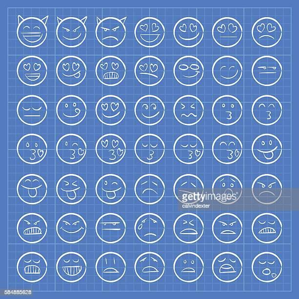 Blueprint emoji icons set 2
