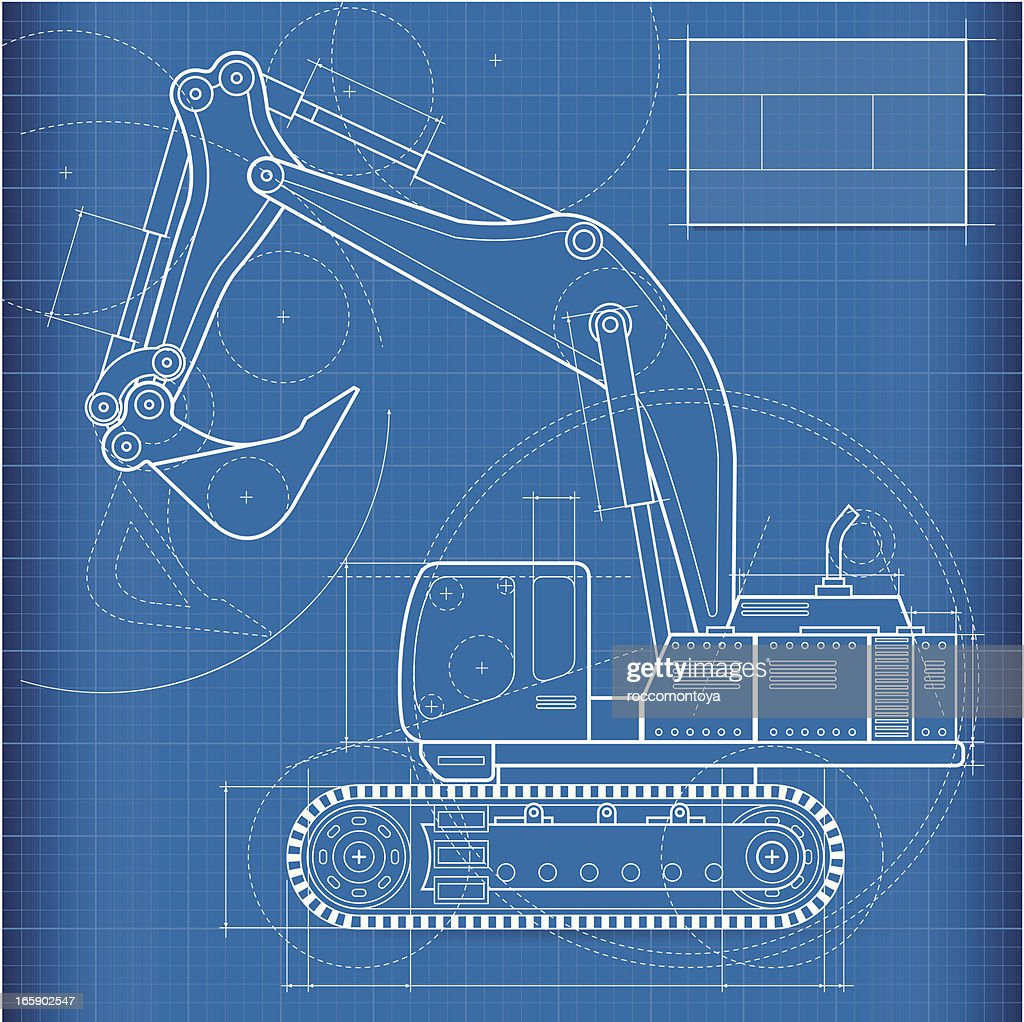 Blueprint excavator vector art getty images blueprint excavator vector art malvernweather Choice Image