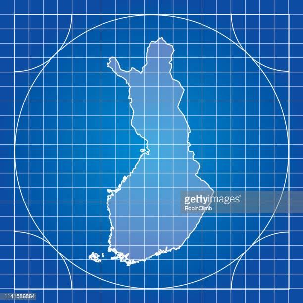blueprint finland map - helsinki stock illustrations, clip art, cartoons, & icons