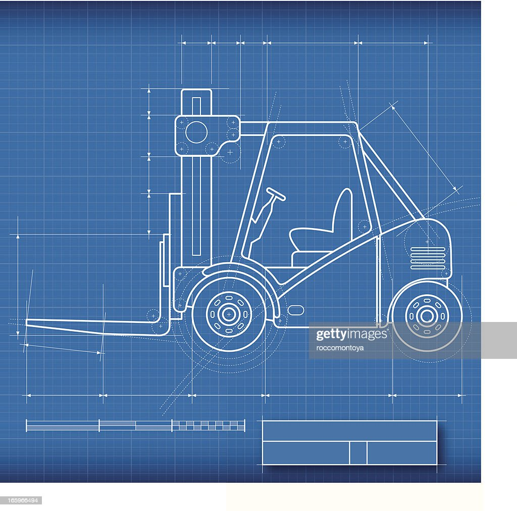 Blueprint forklift vector art getty images blueprint forklift vector art malvernweather Images