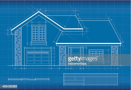 Blueprint house vector art getty images malvernweather Choice Image