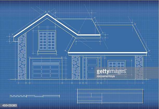 blueprint, house - architectural feature stock illustrations, clip art, cartoons, & icons