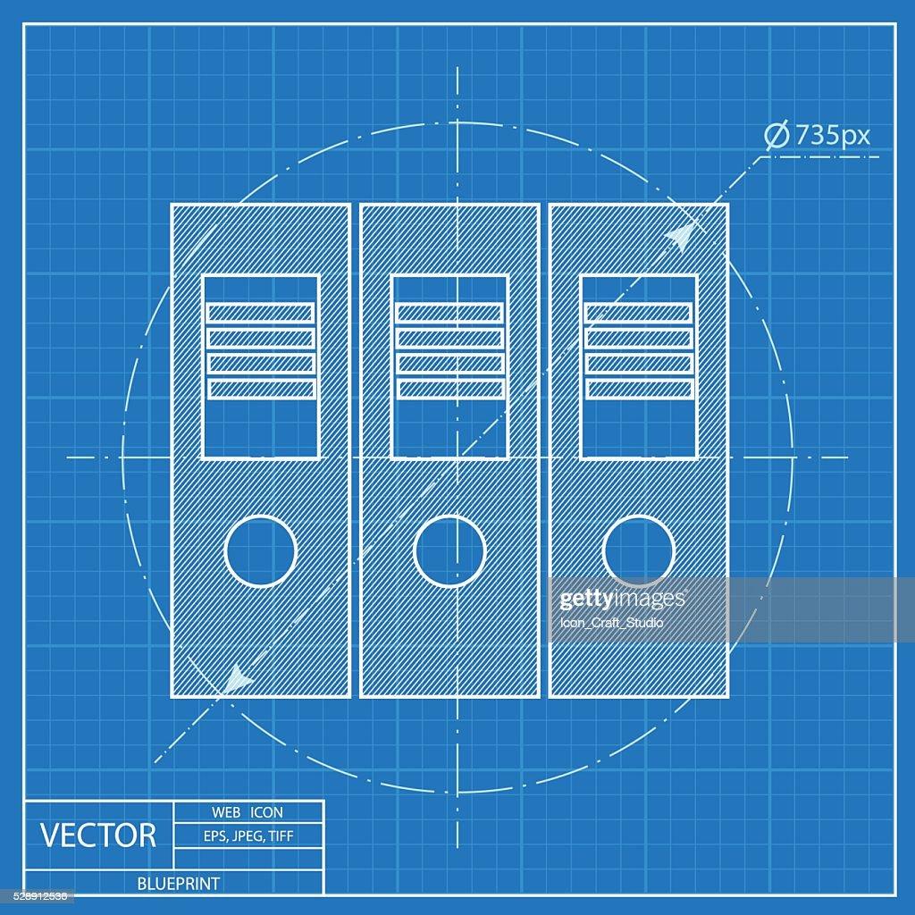 Blueprint icon of document folder vector art getty images blueprint icon of document folder vector art malvernweather Choice Image
