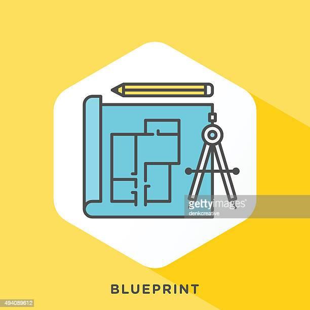 blueprint icon - architect stock illustrations