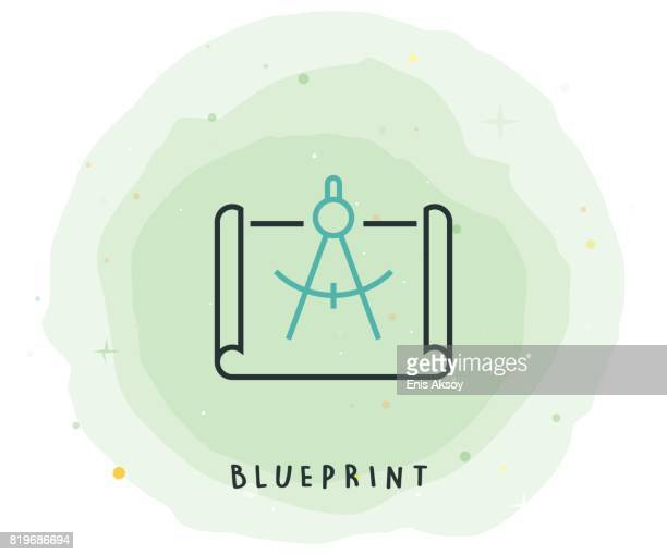 Blueprint Icon with Watercolor Patch