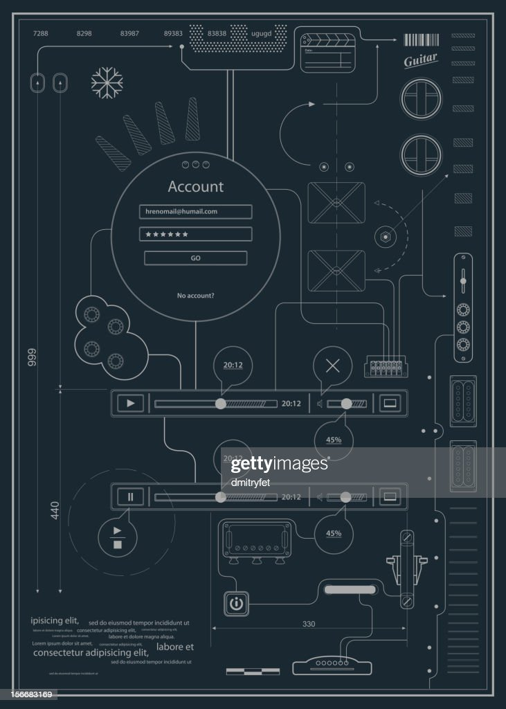 blueprint infographics drawing a schematic abstraction