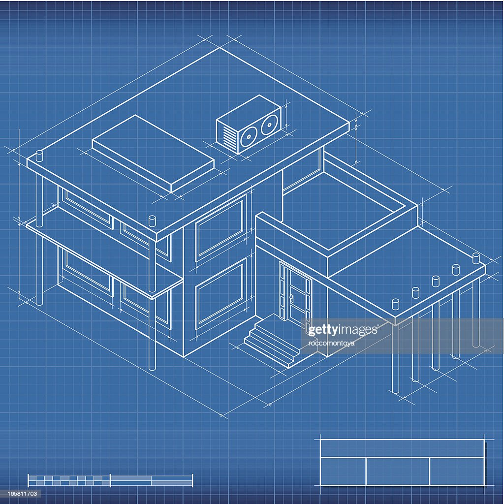 Blueprint isometric house vector art getty images blueprint isometric house vector art malvernweather Choice Image