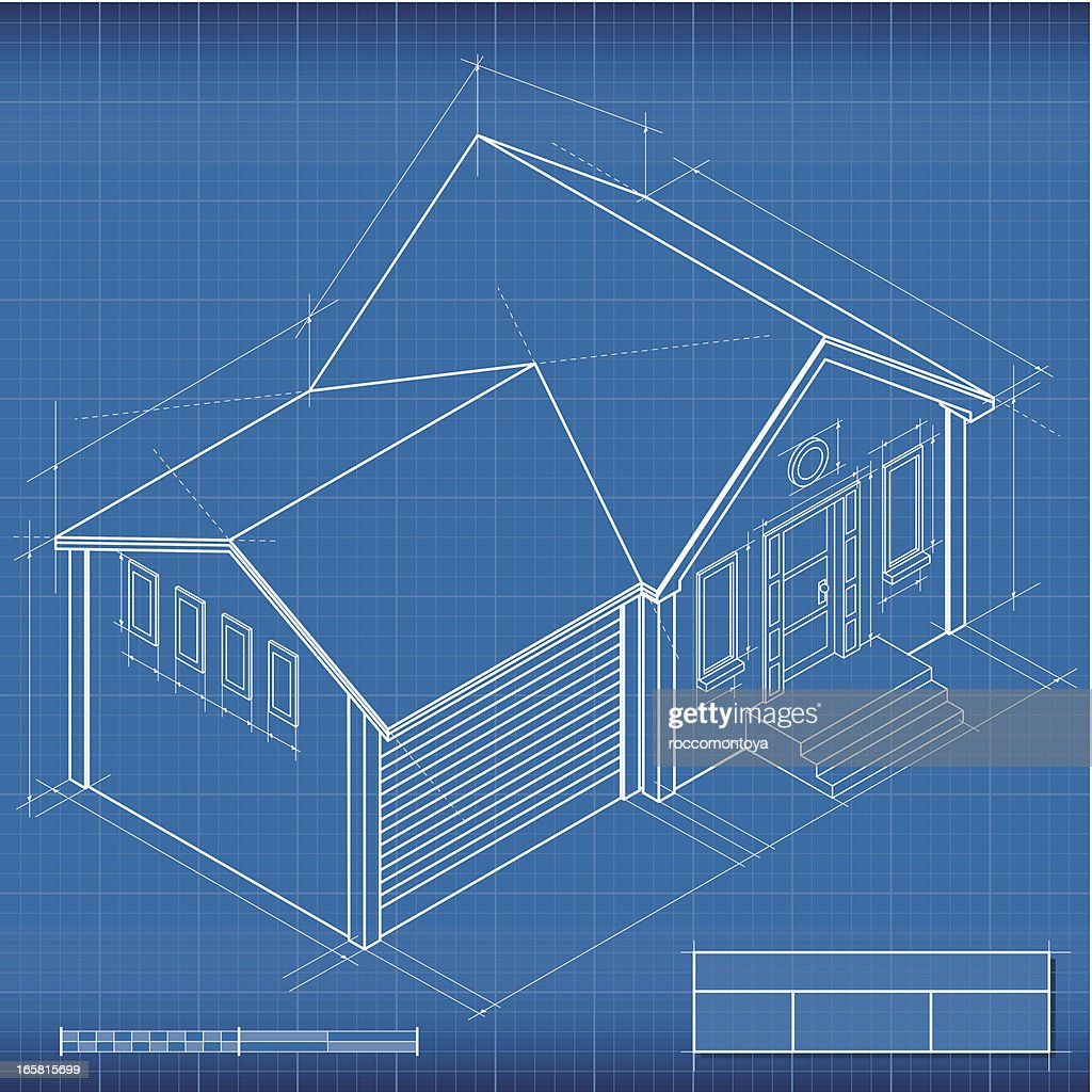 Blueprint isometric house vector art getty images keywords malvernweather Image collections