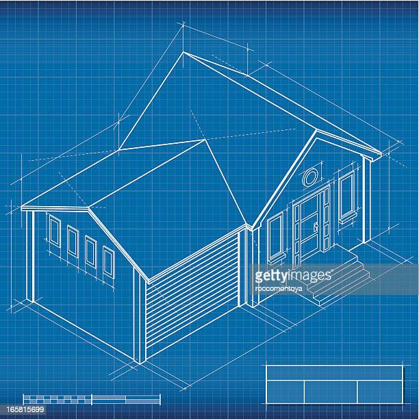 blueprint, isometric house - conversion sport stock illustrations