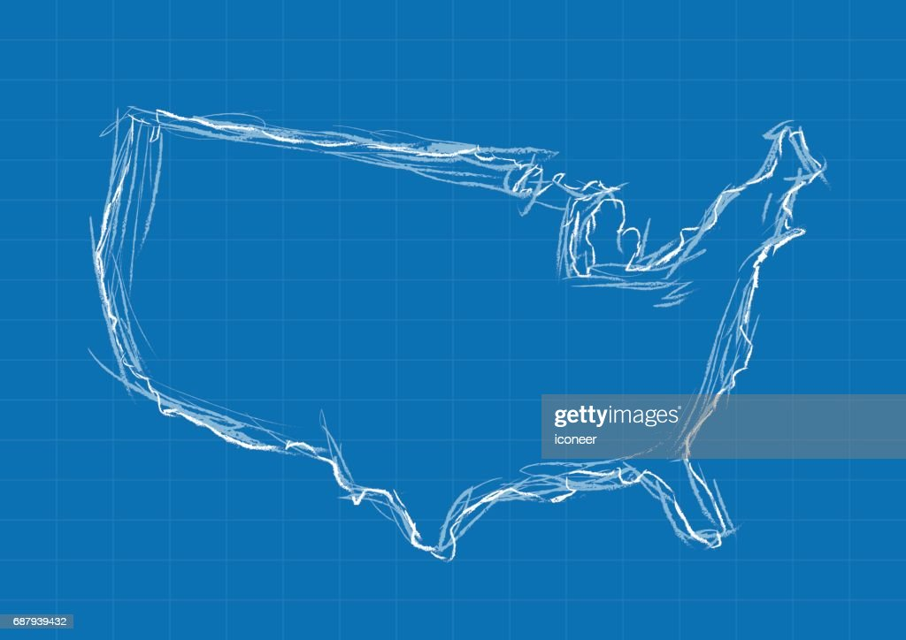 Usa blueprint map blue on grid background vector art getty images usa blueprint map blue on grid background vector art malvernweather Images