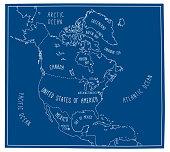Blueprint Map of North America