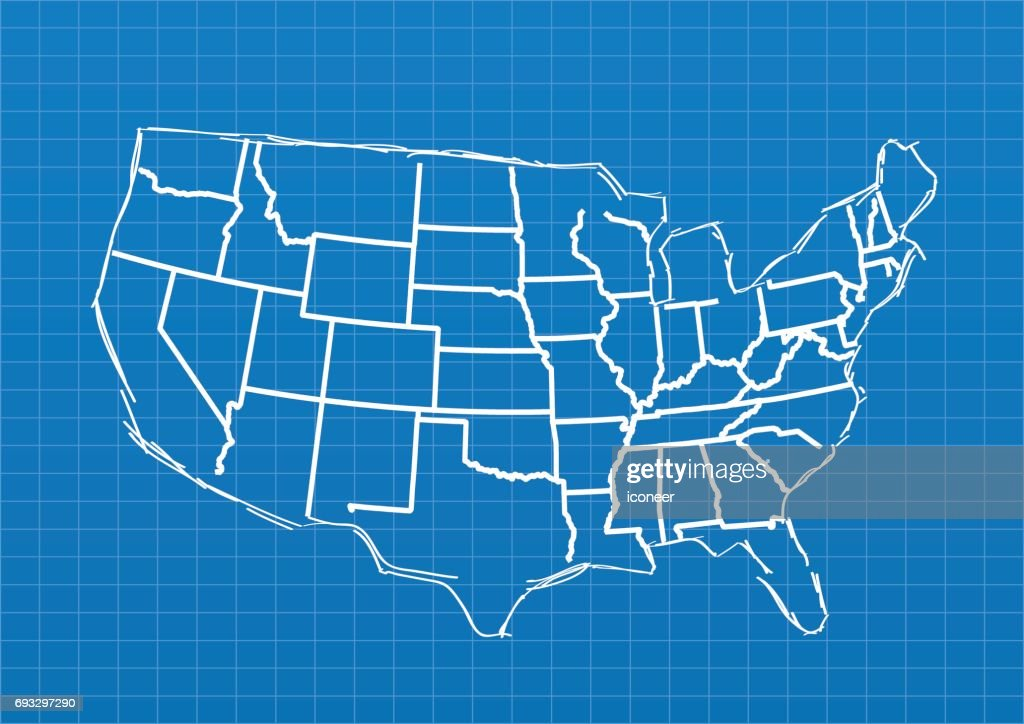 Usa blueprint map on blue grid background vector art getty images usa blueprint map on blue grid background vector art malvernweather Images