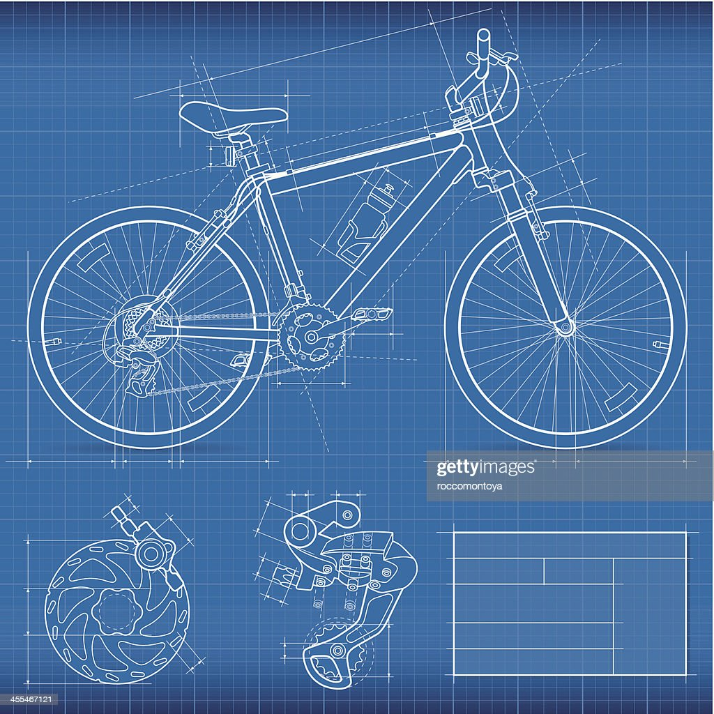 Blueprint, Mountain Bike : stock illustration