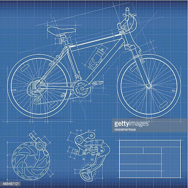 blueprint, mountain bike - bicycle stock illustrations