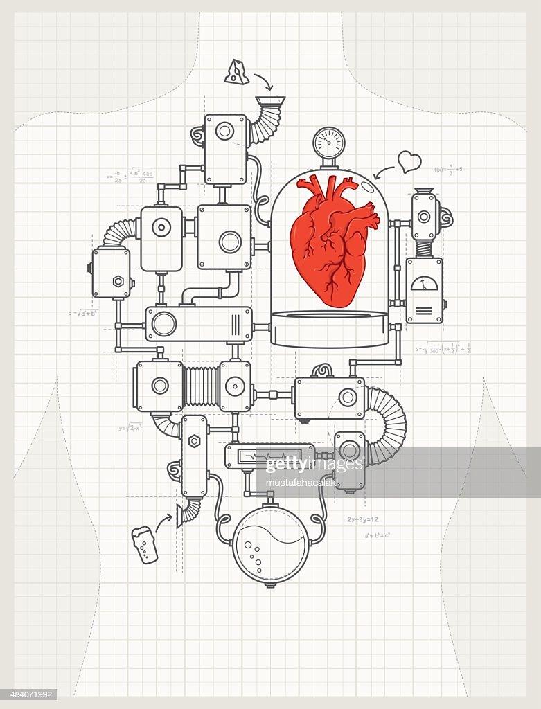 Blueprint of a heart machine project