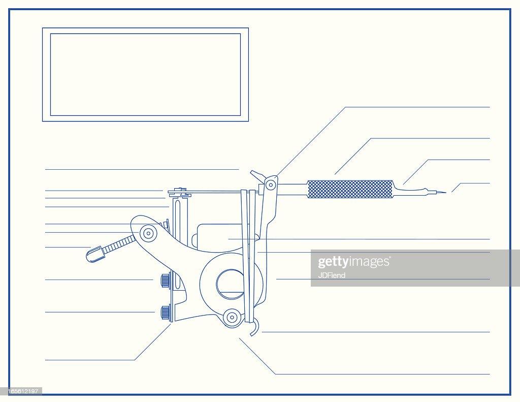 Blueprint of a tattoo machine vector art getty images blueprint of a tattoo machine vector art malvernweather Choice Image