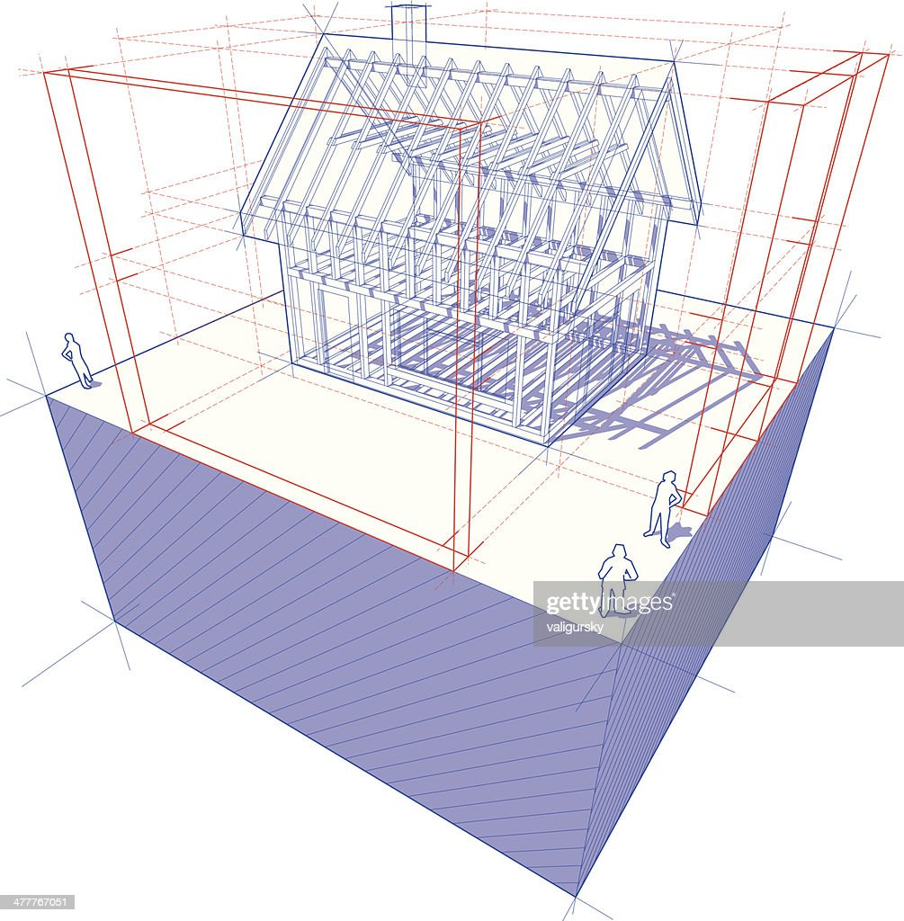 Blueprint Of Framework House With Dimensions Diagram Vector Art ...