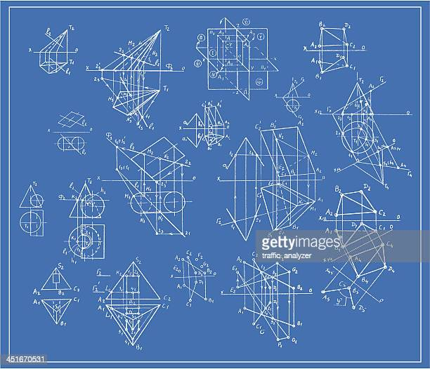 Blueprint of perspective geometry sketches