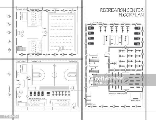 blueprint of recreation center - gym stock illustrations