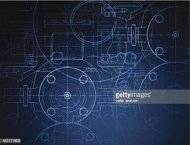 blueprint of the reducing gear - engineering stock illustrations