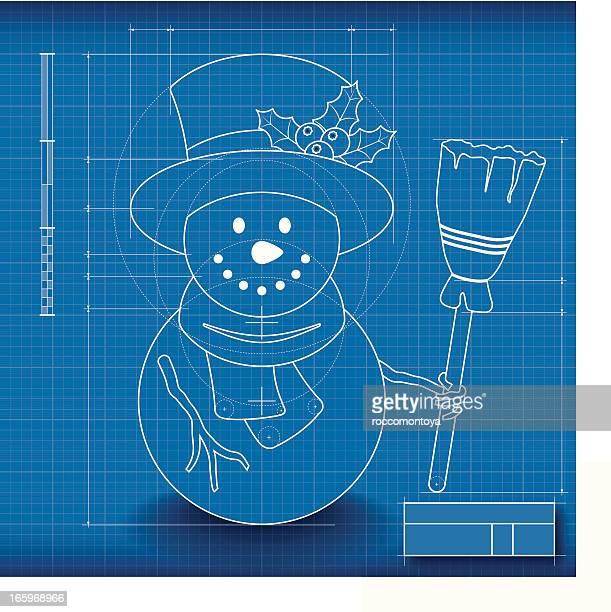 blueprint schneemann - technische zeichnung stock-grafiken, -clipart, -cartoons und -symbole