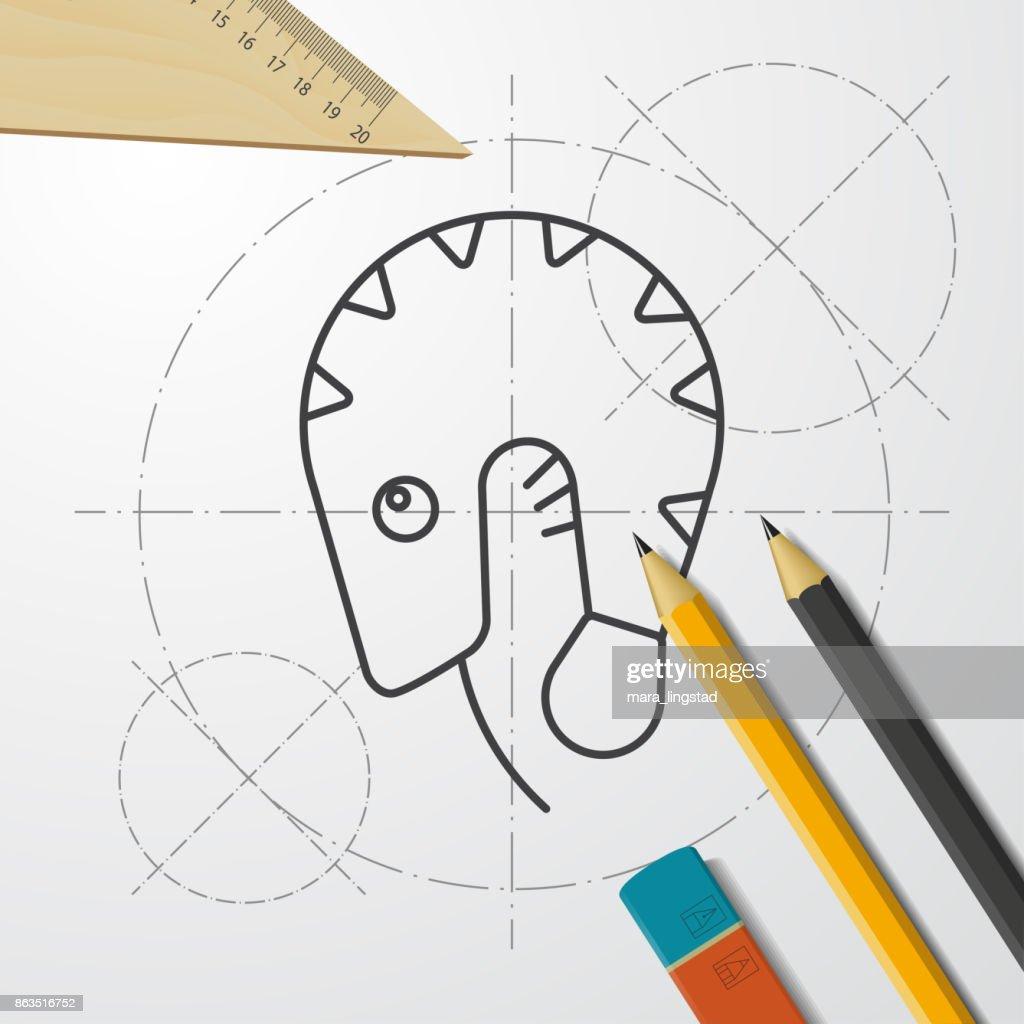 Blueprint style icon