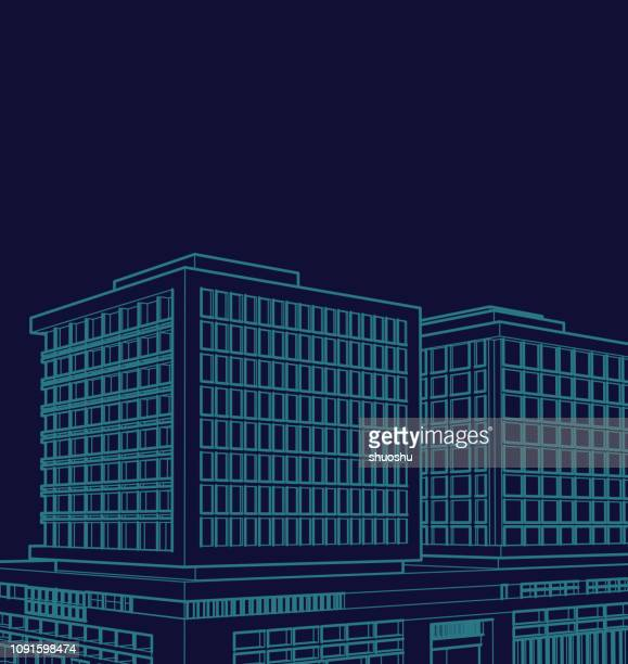 blueprint style modern building model - model to scale stock illustrations, clip art, cartoons, & icons