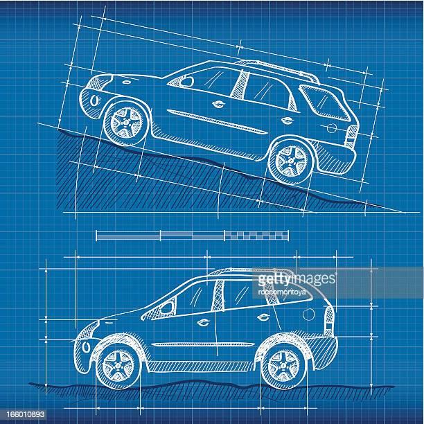 blueprint, suvs - suv stock illustrations, clip art, cartoons, & icons