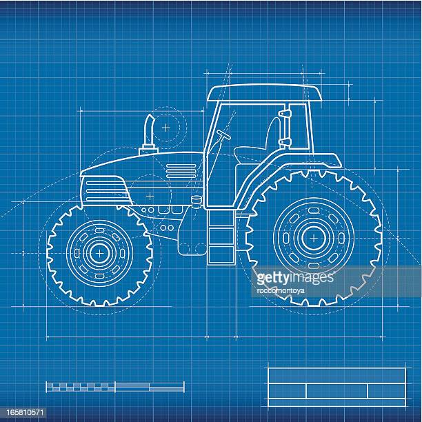 blueprint, tractor - tractor stock illustrations