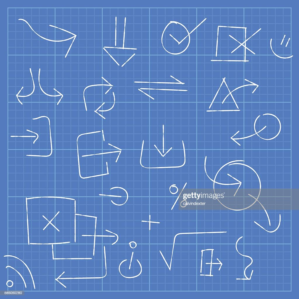 Blueprint with arrow symbols and design elements vector art getty blueprint with arrow symbols and design elements vector art malvernweather Image collections