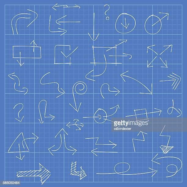 Blueprint paper stock illustrations and cartoons getty images blueprint with arrow symbols malvernweather Images