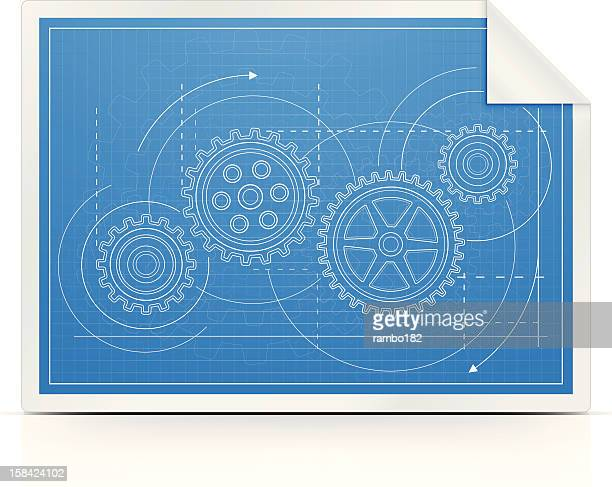 blueprint with gears - cog stock illustrations