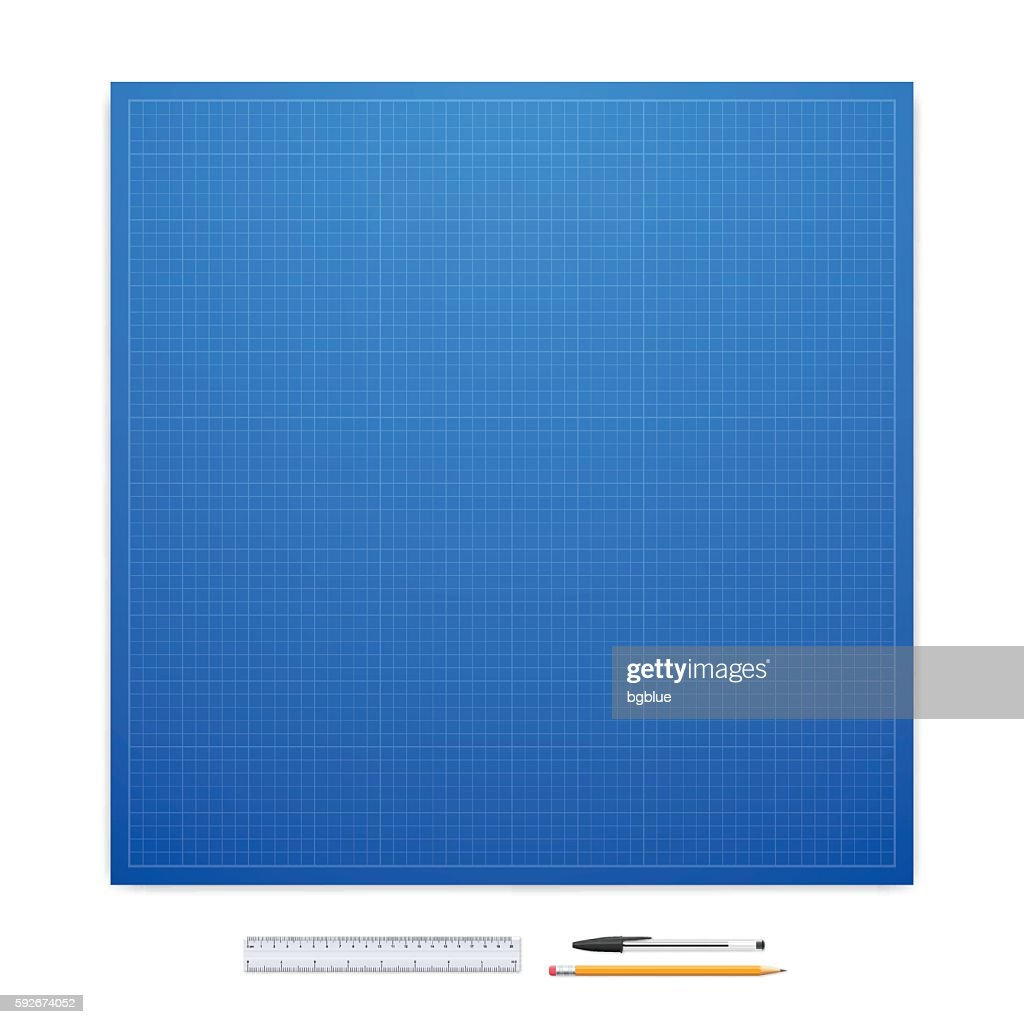 Blueprint with office supplies graph paper vector art getty images blueprint with office supplies graph paper vector art malvernweather Image collections