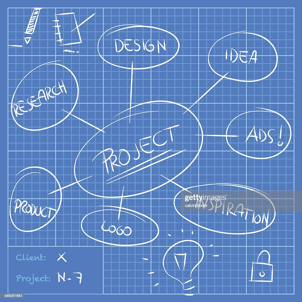 Blueprint with project annotations and ideas vector art getty images blueprint with project annotations and ideas vector art malvernweather Image collections