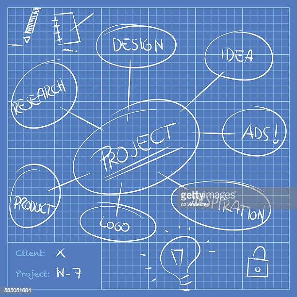 blueprint with project annotations and ideas - inch stock illustrations