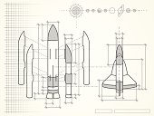 blueprint with space shuttle scheme and planets